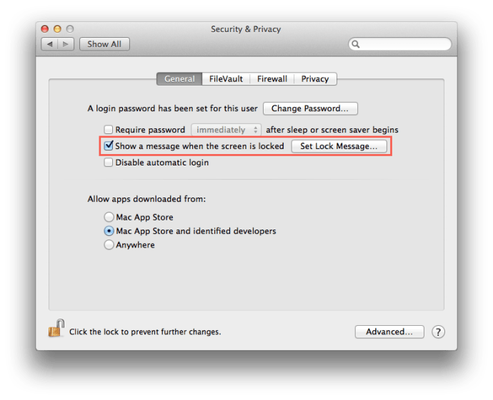 Mac Lock Screen Message System Preferences
