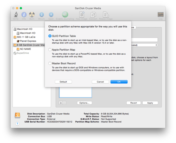 Create OS X Yosemite USB Installer Disk Utility Partition Scheme