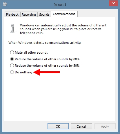 Windows Sound Communications Reduce Volume of Other Sounds