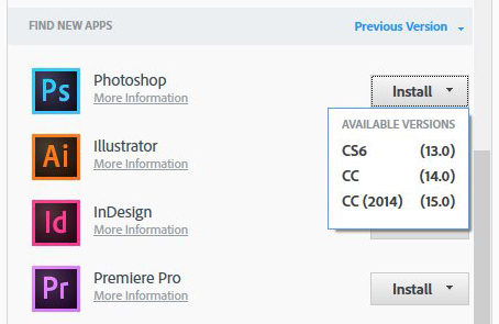 Creative Cloud Previous Version
