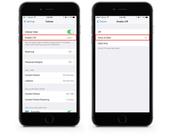 Enable voLTE Verizon iPhone 6