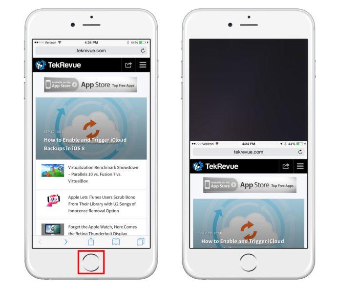 iPhone 6 Reachability Safari