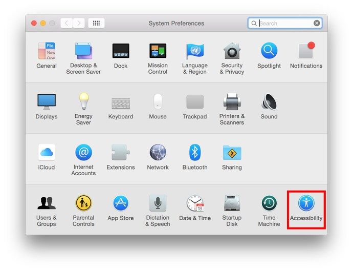 OS X System Preferences Accessibility