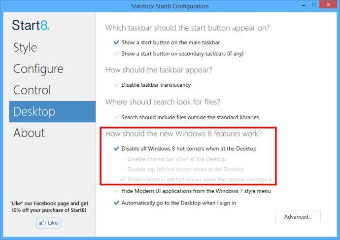 start8 desktop options