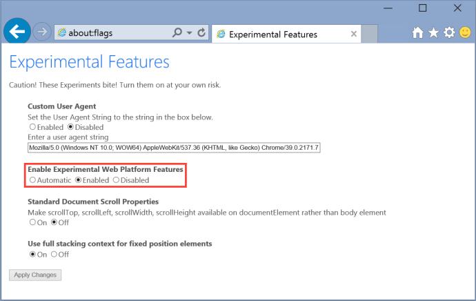 windows 10 ie11 enable spartan edge rendering engine