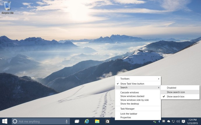 windows 10 taskbar search options