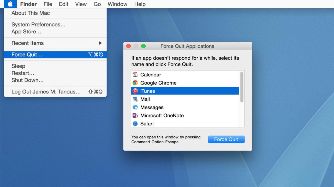 mac force quit finder shortcut