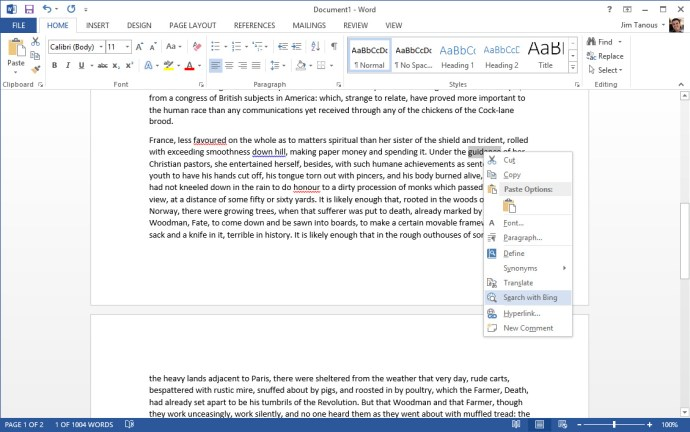 microsoft word search with bing