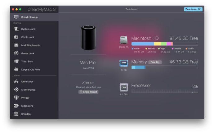 cleanmymac 3 dashboard