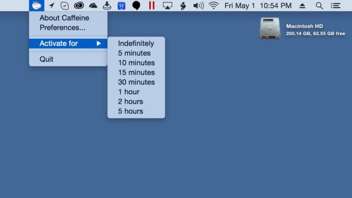You can set a default duration in Caffeine's Preferences, or a per-session duration from the Menu Bar