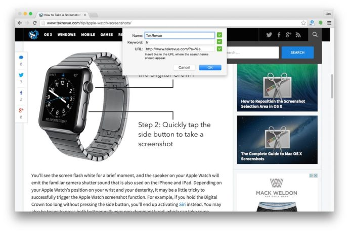 configure chrome custom search engine