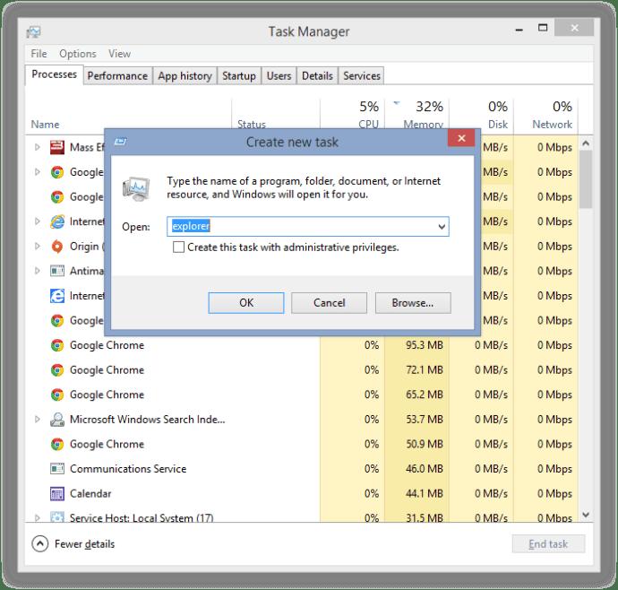 restart windows explorer.exe