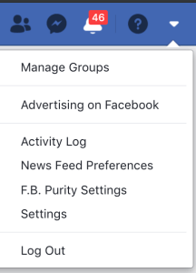 Facebook menu - How to Delete Your Facebook Account