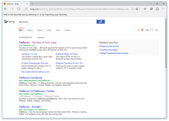 microsoft edge bing search