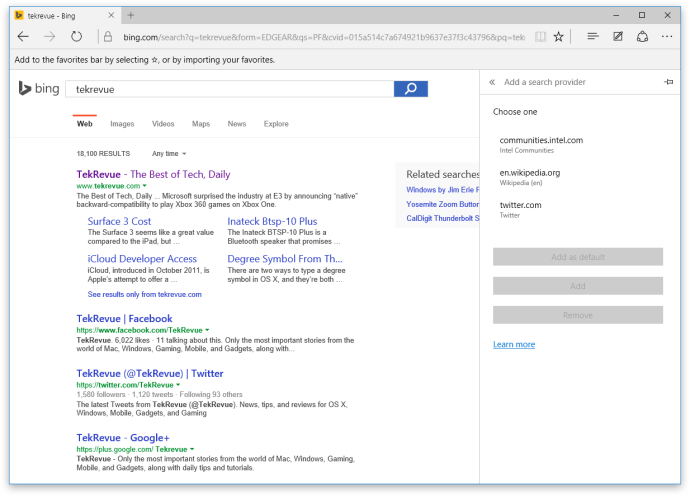 microsoft edge add search provider