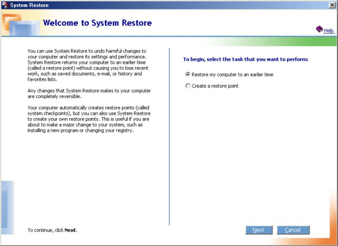 system restore windows me