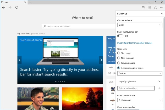 microsoft edge open with google