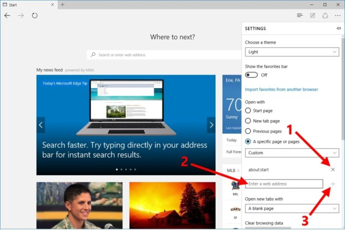 microsoft edge custom start page