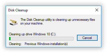 disk cleanup delete previous windows installations