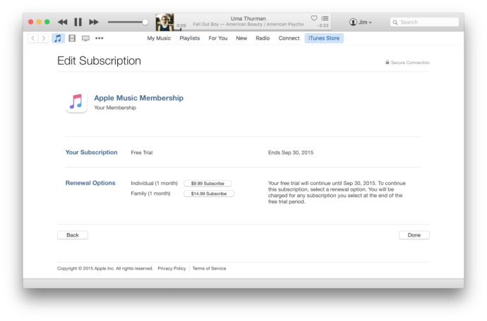 itunes apple music cancel subscription