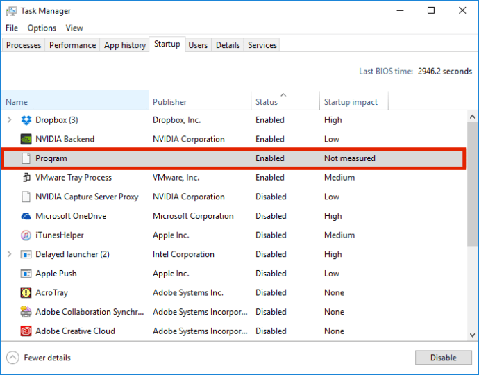 windows task manager unknown program