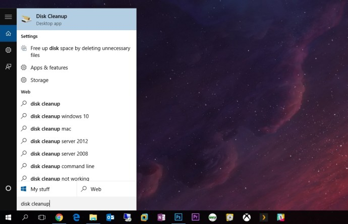 launch disk cleanup windows 10