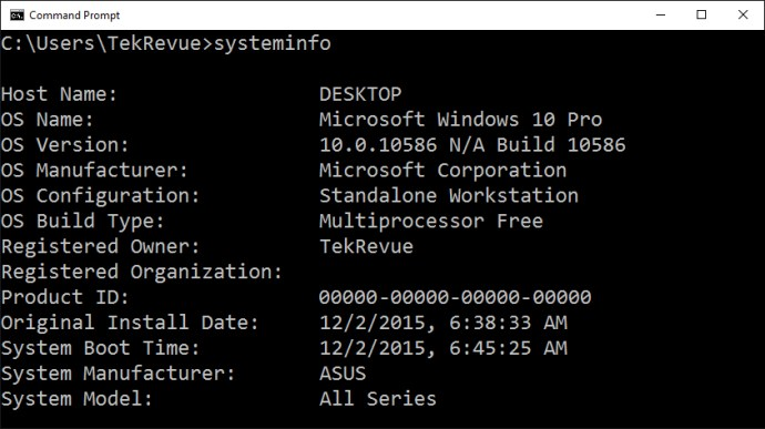 command prompt systeminfo