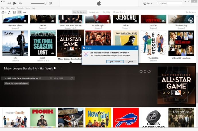 hide itunes purchase tv show