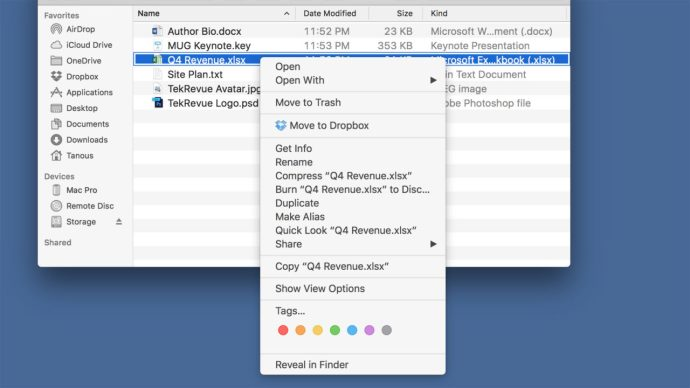 os x finder right click