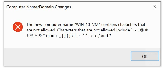 rename pc characters not allowed