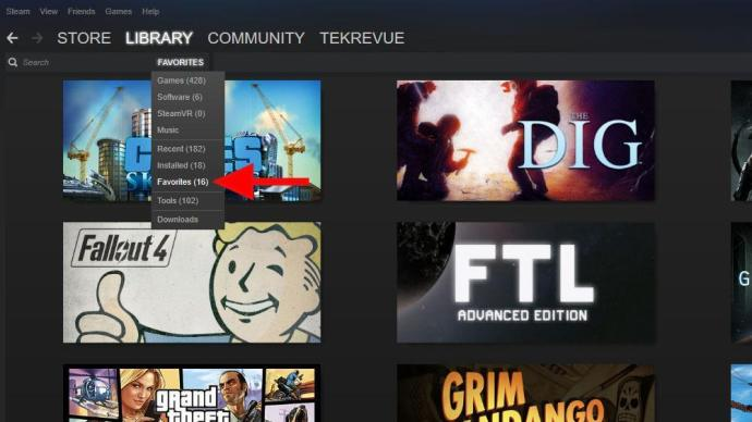 steam library show favorites