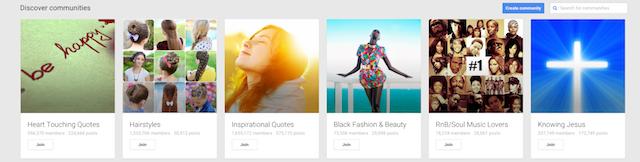 Google+ communities main page