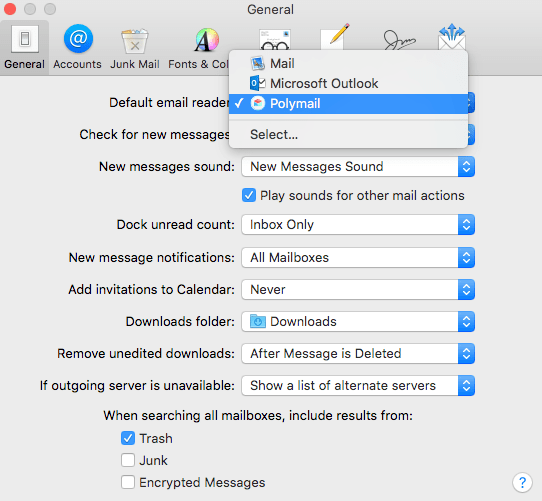 choice of mail apps in OS X