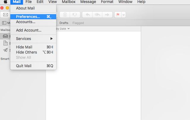 choose mail preferences in OS X
