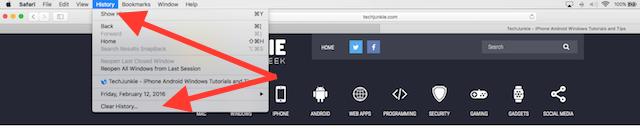 clear browsing history in Safari on OS X