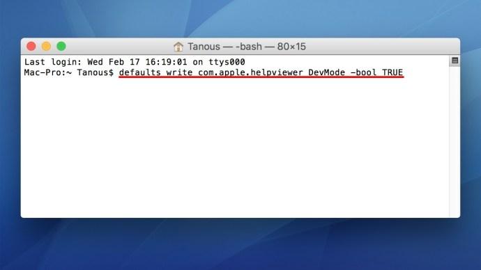 mac os x help viewer devmode terminal
