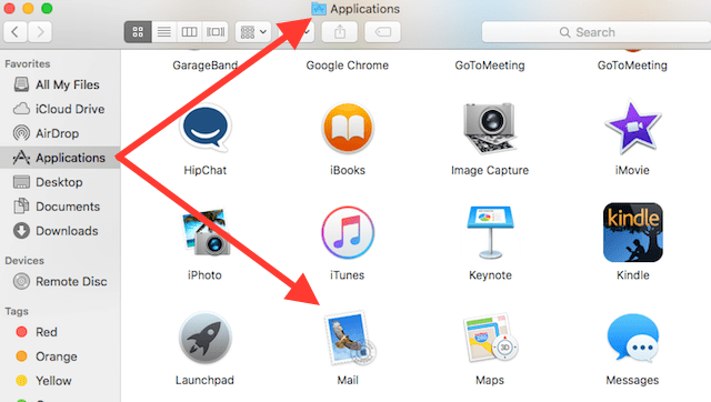 open Mail app in iOS applications folder