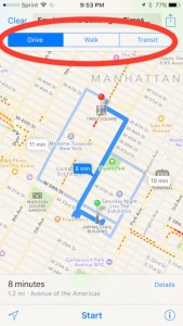 Drive, walk or transit options in Apple Maps