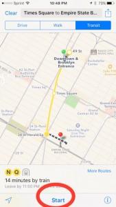 hit start in Apple Maps