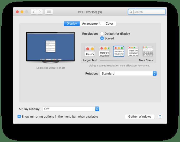mac os x system preferences resolution default
