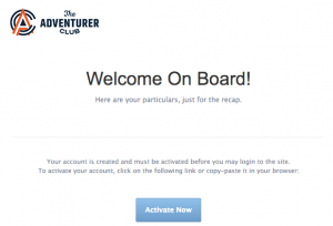 activate The Adventurer Club email