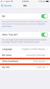 voice feedback in Siri