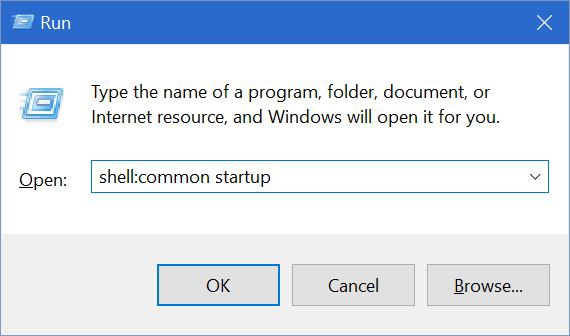 windows 10 common startup folder
