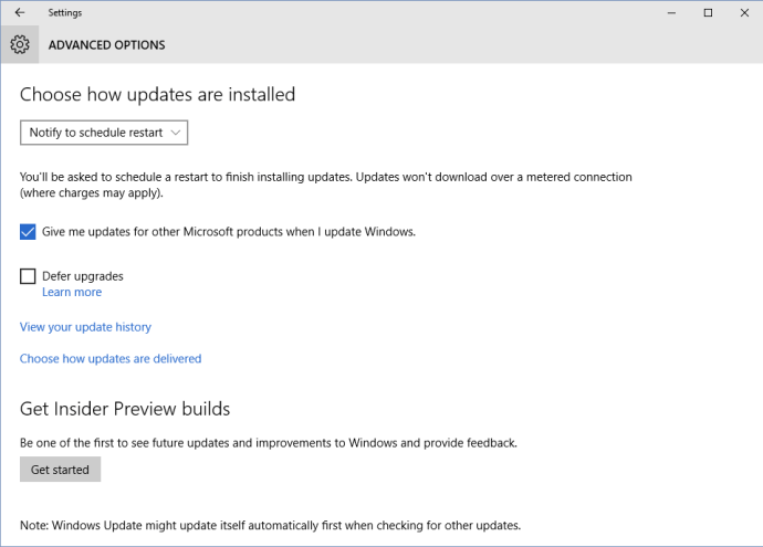 windows 10 settings update