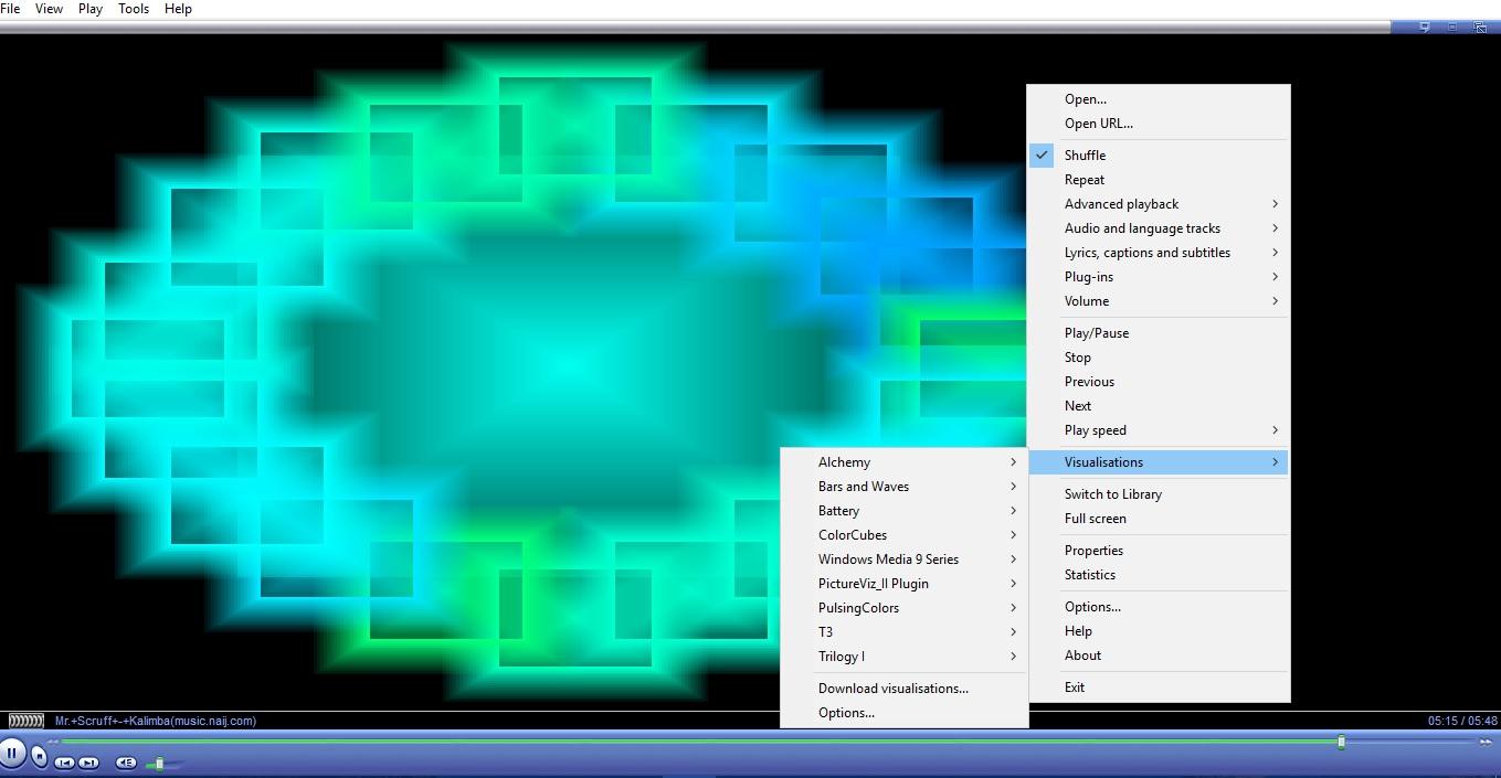 windows media player 12 visualizations