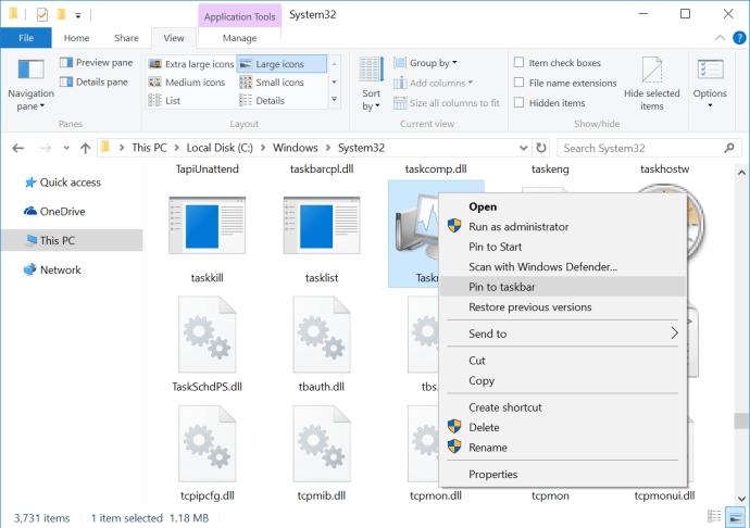 task manager shortcut pin to taskbar