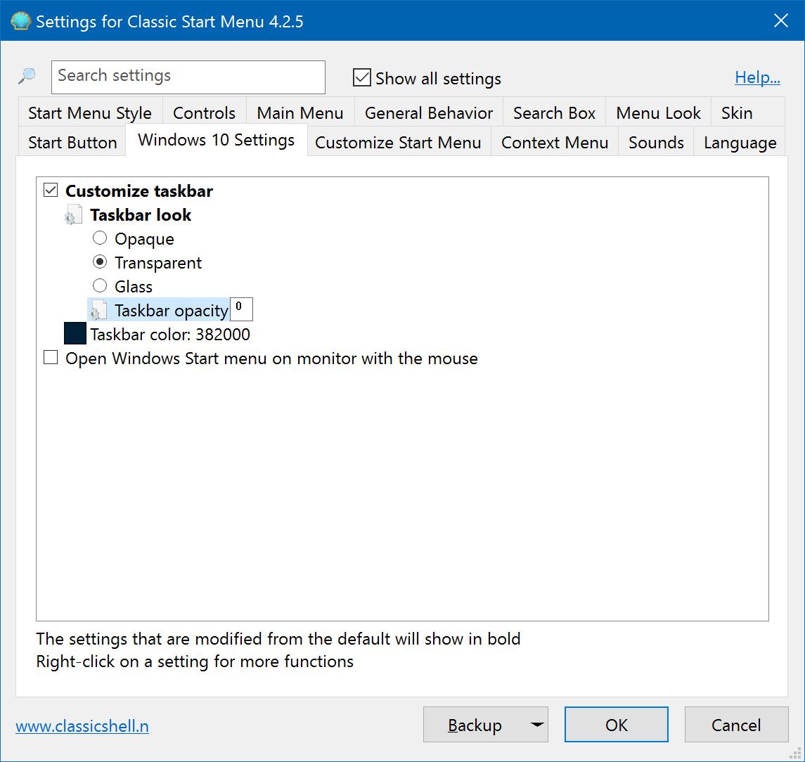 Windows 10: Increase Taskbar Transparency via the Registry