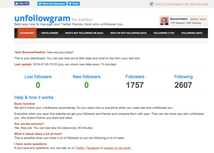 Dashboard Unfollowgram