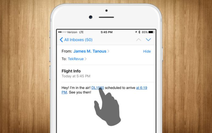 iphone flight info email