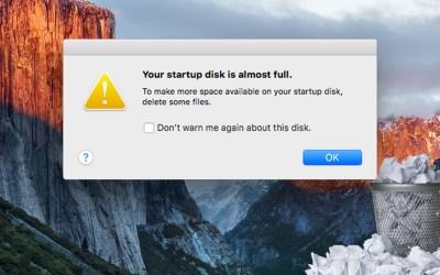 storage disk almost full mac